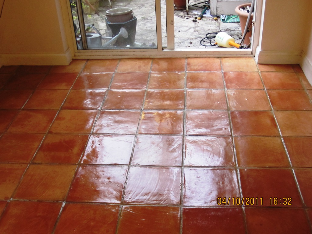 Stone cleaning and polishing tips for terracotta floors terracotta tile after cleaning and sealing doublecrazyfo Images