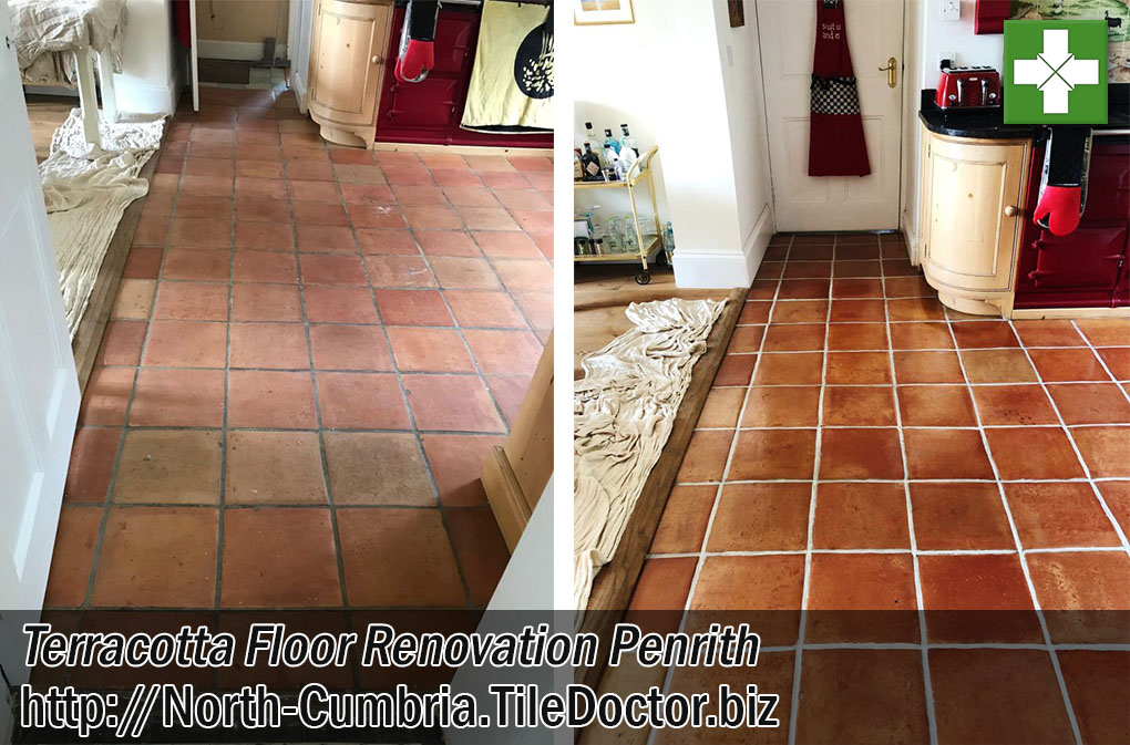 Cleaning And Sealing A Terracotta Tiled Kitchen Floor In Penrith Cumbria Stone Cleaning And